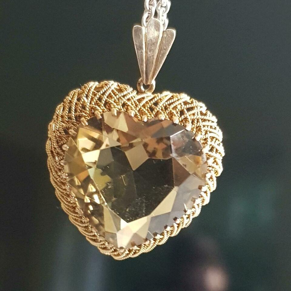 Xxl Herz Anhanger Gold 585 Mit Rauchquarz Rauchquarzherz Antik In