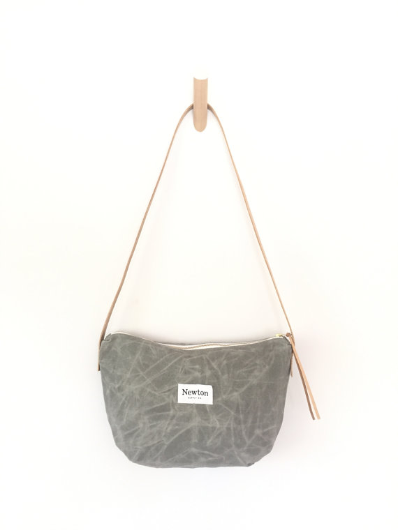 ALUMINUM / waxed canvas crossbody bag