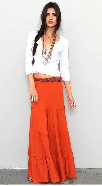 Presenting some stylish tiered maxi skirts for summer fashion ...