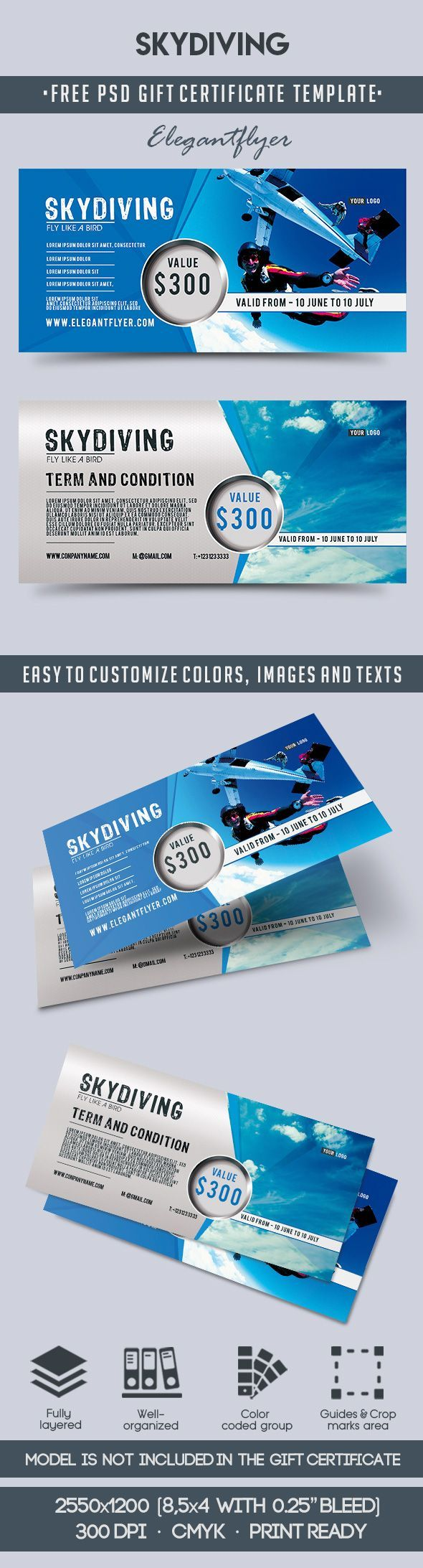 Skydiving Free Gift Certificate Psd Template