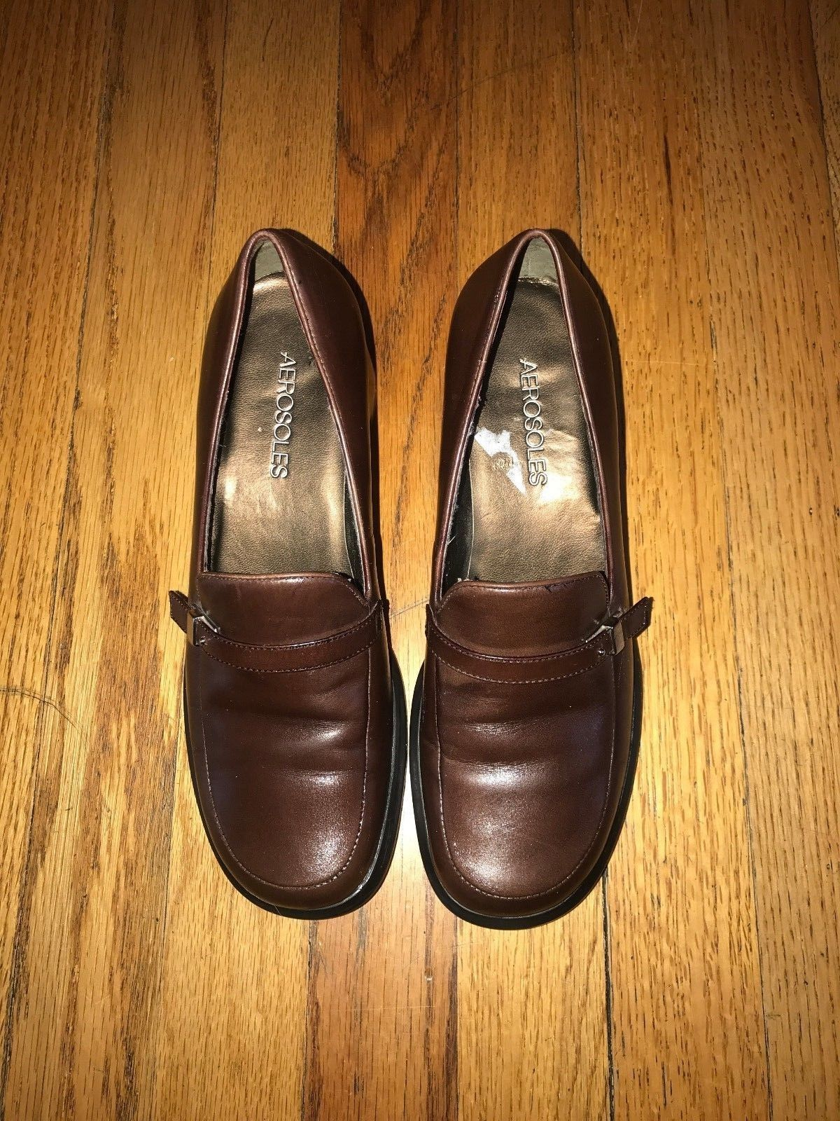 7fd35c45d6f AEROSOLES Womens Brown Leather Block Heels CAREER PATH Shoes Loafers Sz 6.5