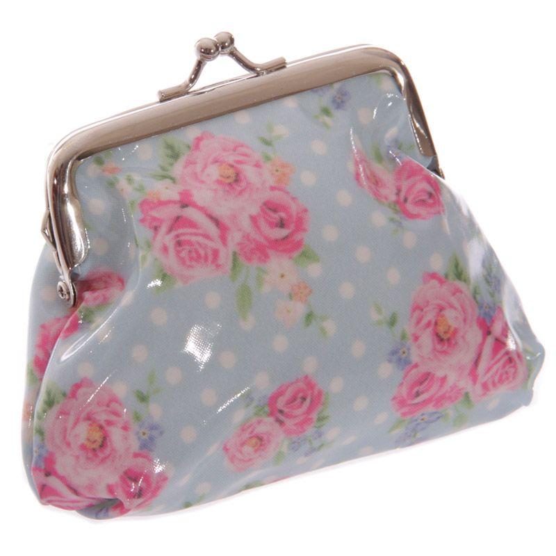 Blue pvc laura bell chintz change purse purses change