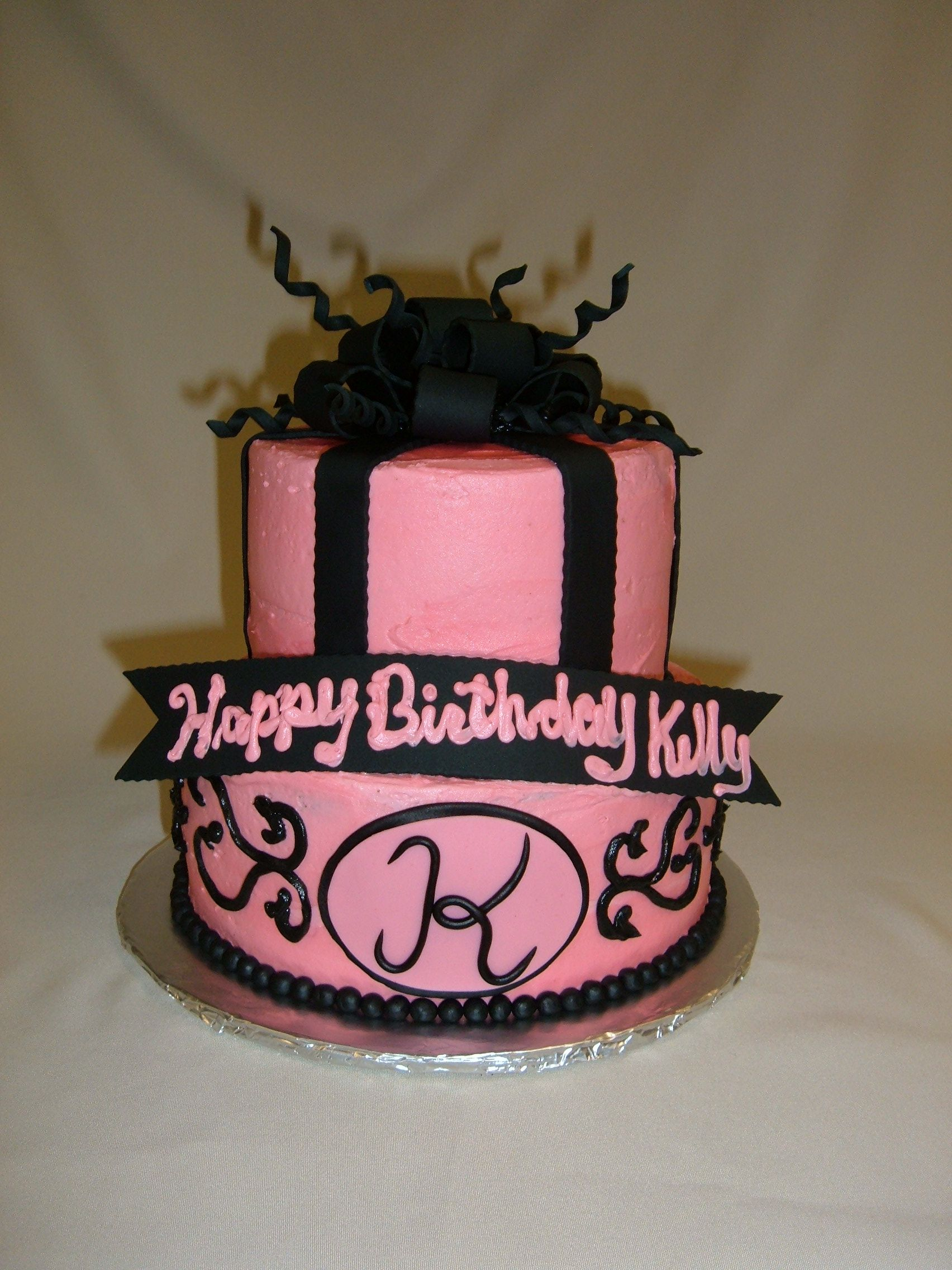 Custom Pink Black Stacked Bow Cake With Fondant Detailing Happy