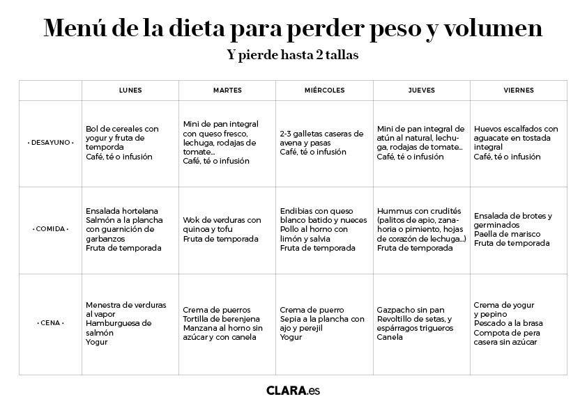 Baja Hasta Dos Tallas Con La Dieta Para Perder Peso Y Volumen Dieta Para Perder Peso Plan De Comida Para Perder Peso Dietas Para Adelgazar