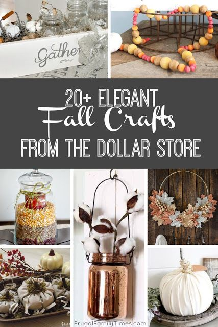 Simple, elegant fall crafts from the dollar store.  Beautiful fall decor can be inexpensive with creative crafts. This collection includes painted pumpkins, beautiful fall wreaths, tablescapes, wall art, candle holders and more #fall decor #craft #dollarstore #autumn #frugalfamilytimes