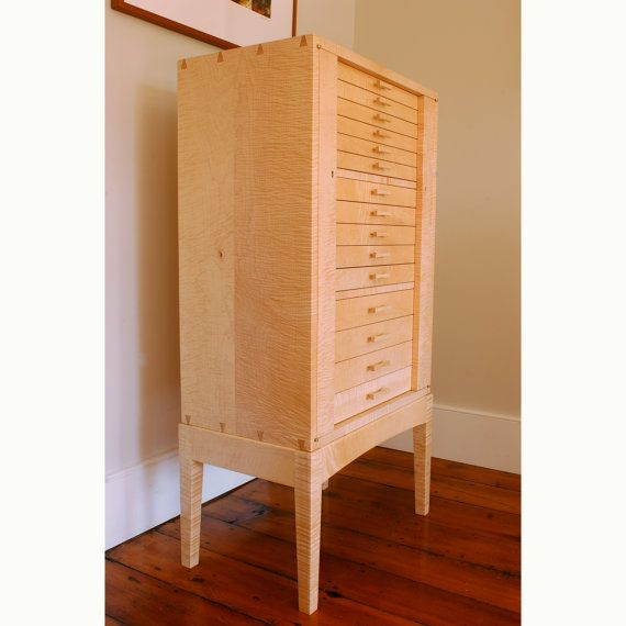 Captivating Curly Sugar Maple Locking Jewelry Armoire Cabinet On Stand This Cabinet Is  Made To Order.