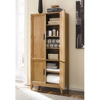 American Drew Tall Shallow Storage Cabinet W Doors 16 Deep 34