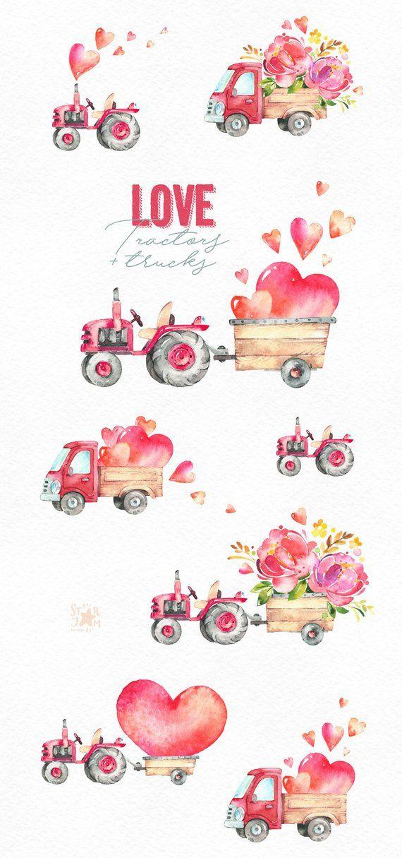 love tractors  trucks watercolor valentine's clipart