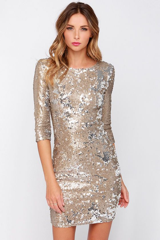 TFNC Paris Gold Sequin Dress at Lulus.com! 187e4c460b3e