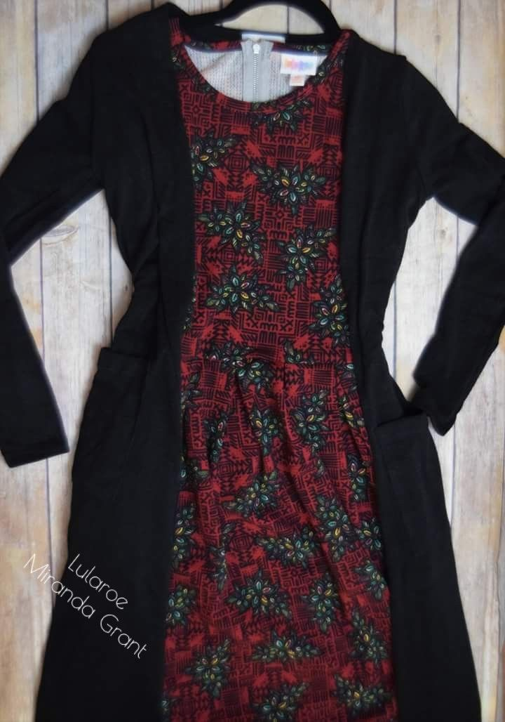 Gorgeous Sarah and Amelia combo! Love the flowers and Aztec. #Lularoe #Style #amelia #sarah #dress #fashion #black #Aztec #floral