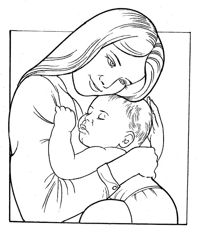 Mother And Babe Baby Coloring Pages Mothers Day Coloring Pages Coloring Pages