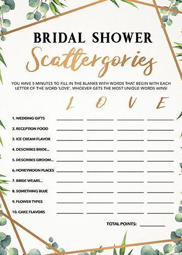 Bridal Shower Scattergories, Bridal Shower Games Printables, Bridal Shower Game, Bridal Shower Instant Download, Wedding Game, Greenery