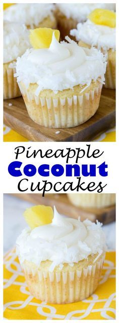 PINEAPPLE COCONUT CUPCAKES – A moist and tender homemade cupcake that taste like the tropics! Pineapple and coconut flavor in the cupcakes and in the frosting!!