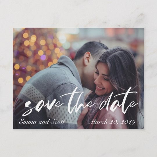 Save The Date Casual Brush Font Photo Wedding Announcement