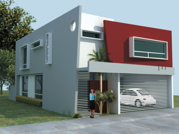 Pin de andres ramirez en casas y fachadas en 2019 for Casa minimalista roja