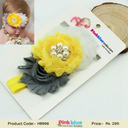 Baby Girl Flower Headband, Shabby Chic Floral Hair Band, Kids Fashion Headband, Toddler Headbands, Princess Birthday Headbands, Party wear Headband for Infant Girl