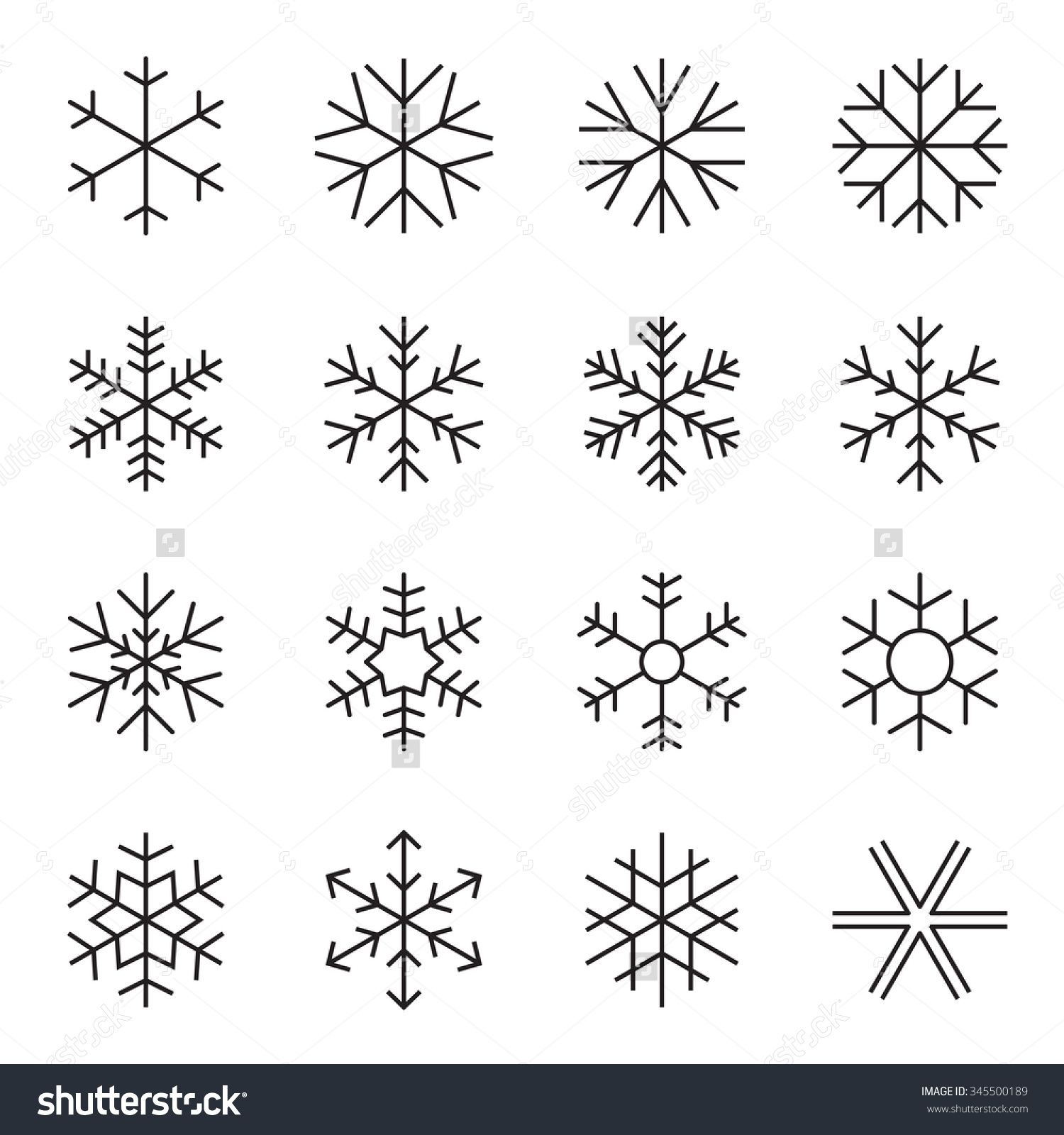 Stock Vector Thin Line Simple Snowflake Icons Symbols Of Winter Frost Snow Freezer Refrigerator Froz Simple Snowflake Bullet Journal Doodles Snowflakes Drawing