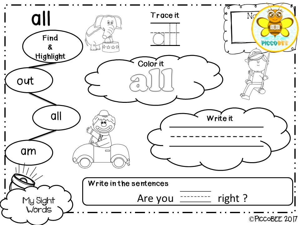Sight Words Activities Carnival Edition {Kindergarten