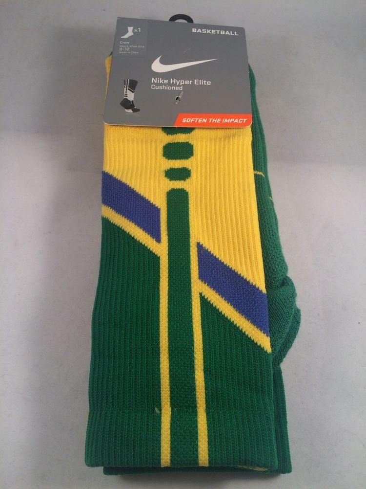 New Nike Hyper Elite Basketball Crew Socks Brasil Mens Shoe Size 8-12 #Nike #Athletic