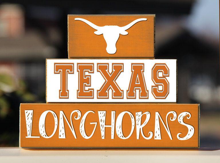 Texas Longhorns Trio Wood Blocks Stack Home Decor Gift Austin