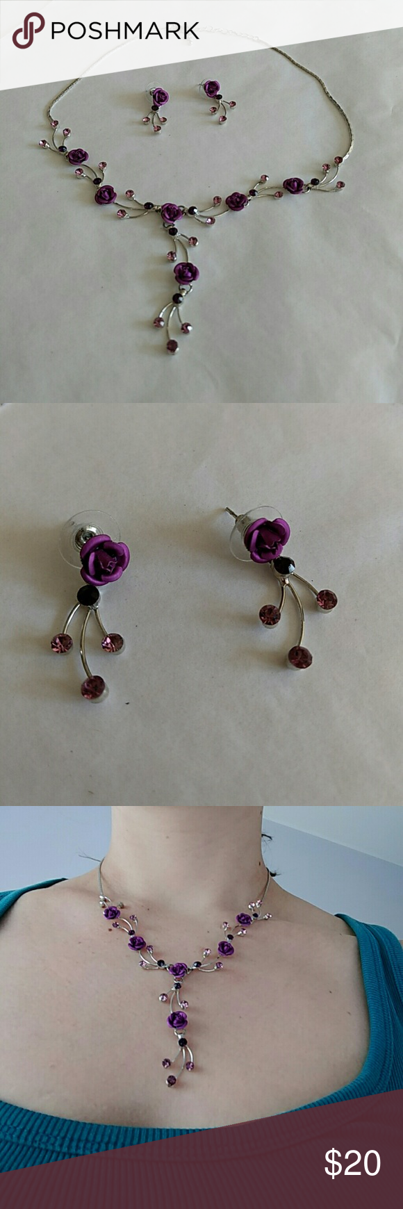 """Necklace & earring set Beautiful hand made purple flower and crystal necklace and earring set with silver lobster claw clasp  Dangle earrings are approx. 1"""" long, necklace is 16""""long, extendable to 18.5"""".  (Necklace modeled at full 18.5"""" extension.)  Like new!   Jewelry"""