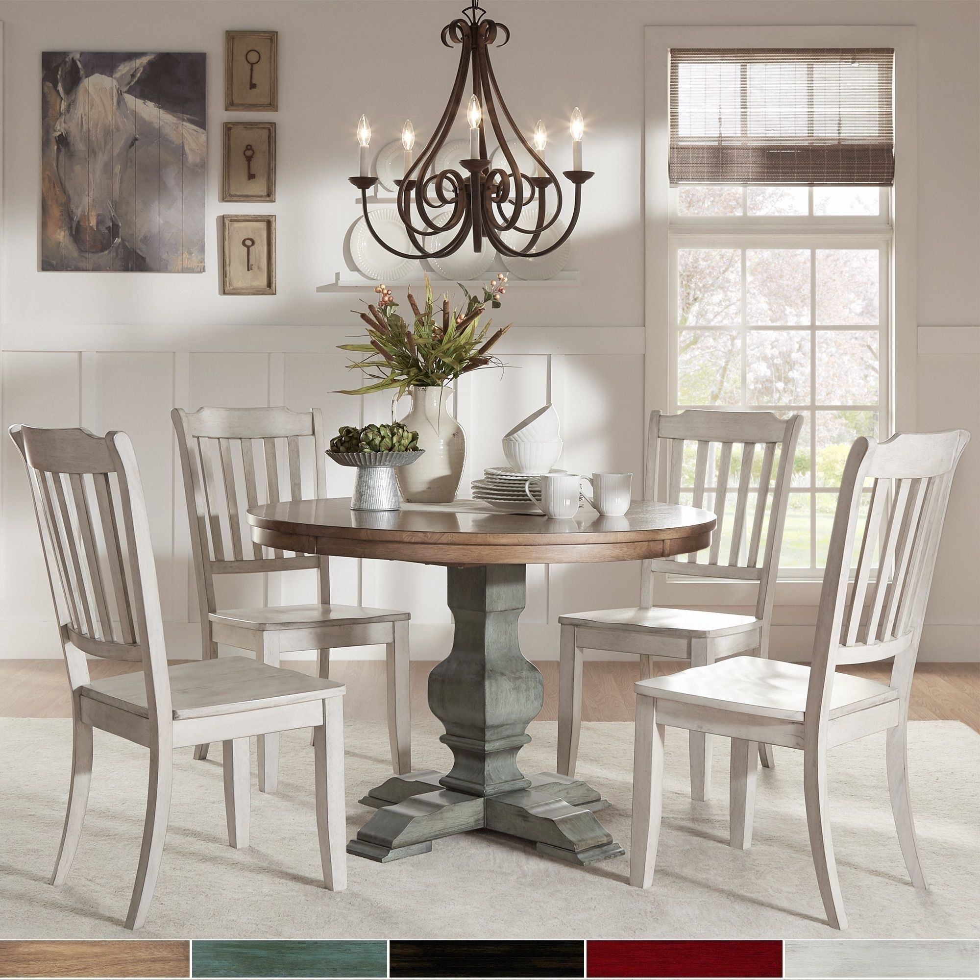 Eleanor Sage Green Round Soild Wood Top 5-Piece Dining Set - Slat Back by  iNSPIRE Q Classic (5-Piece Set - Antique Grey Chairs), Size 5-Piece Sets