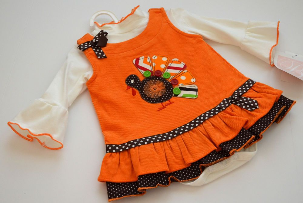 1dc74e4425292 NEW Bonnie Jean Baby Turkey Thanksgiving Corduroy Jumper Dress Set SZ 3-6M # BonnieJean #DressyEverydayHoliday