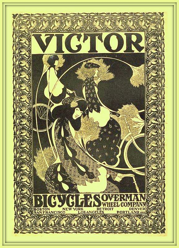 1895 Ca Victor Bicycles Overman Wheel Co By Will H Bradley Acrylic Prints Canvas Prints Vintage Posters