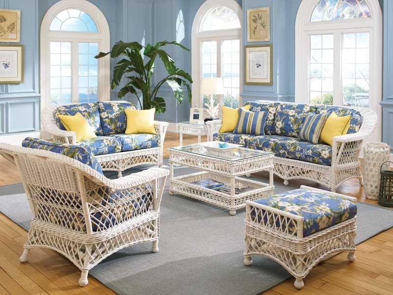 Bar Harbor White Wicker Living Room Furniturebar Furniture