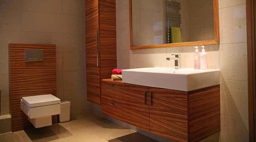 Elegant This Bespoke Wood Bathroom Furniture Including A Vanity Unit With Tall  Cupboard And Cistern Unit Is