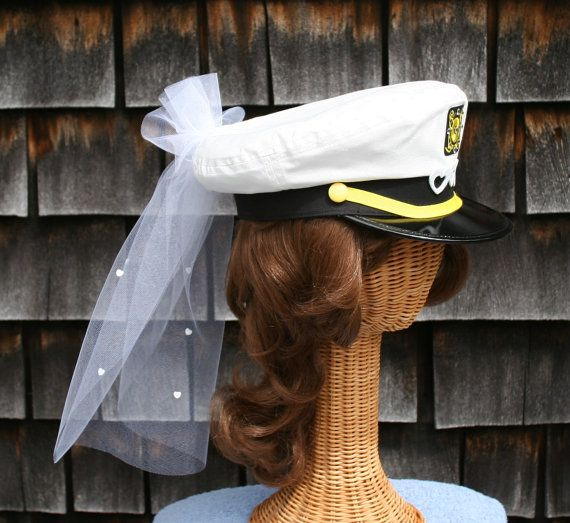 5014a7840a3 Bridal CAPTAIN S Hat w  Veil - trimmed with HEARTS perfect for Nautical  Bachelorette Party