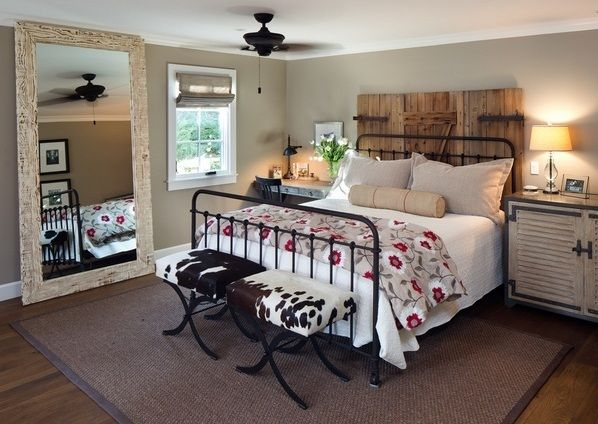 Farmhouse Style Bedroom With Oversized Mirrors  Decolover Entrancing Farmhouse Style Bedroom Design Inspiration