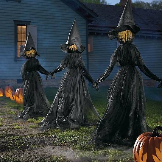 Set Of 3 Lighted Glowing Black Witches Witch Coven Outdoor