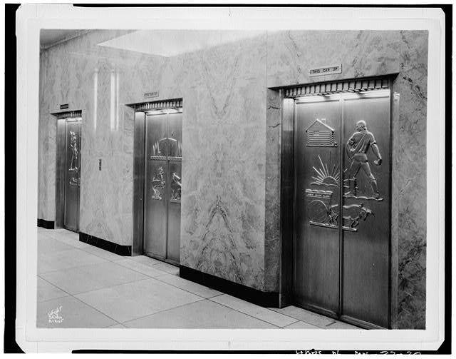 First floor elevator doors with reliefs by E. R. Stewart nearest door shows farmer - St & First floor elevator doors with reliefs by E. R. Stewart nearest ...