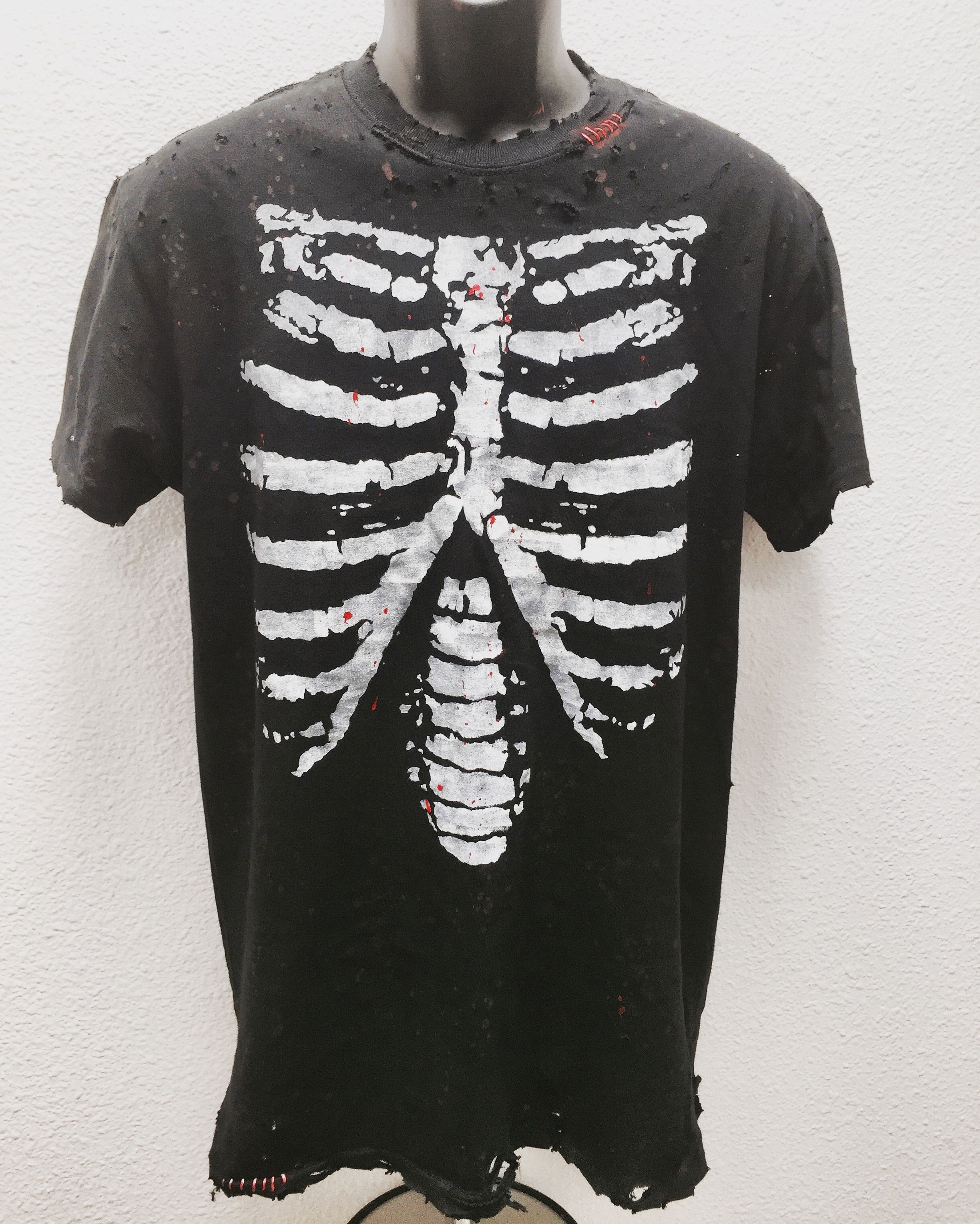 Distressed skeleton ribs t shirt by Chad Cherry ...