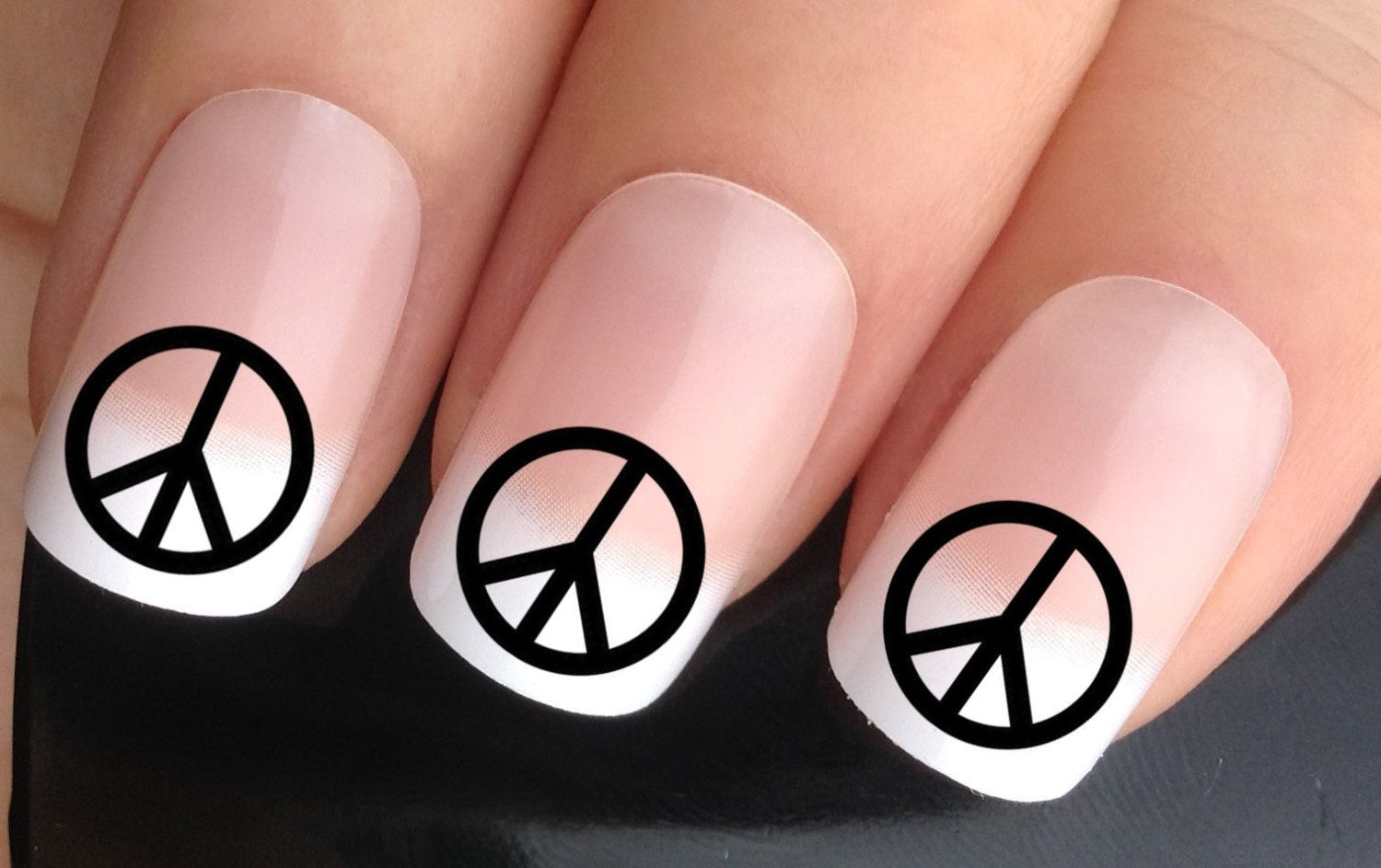 Nail decals #383 black peace logo sign hippy love retro water ...