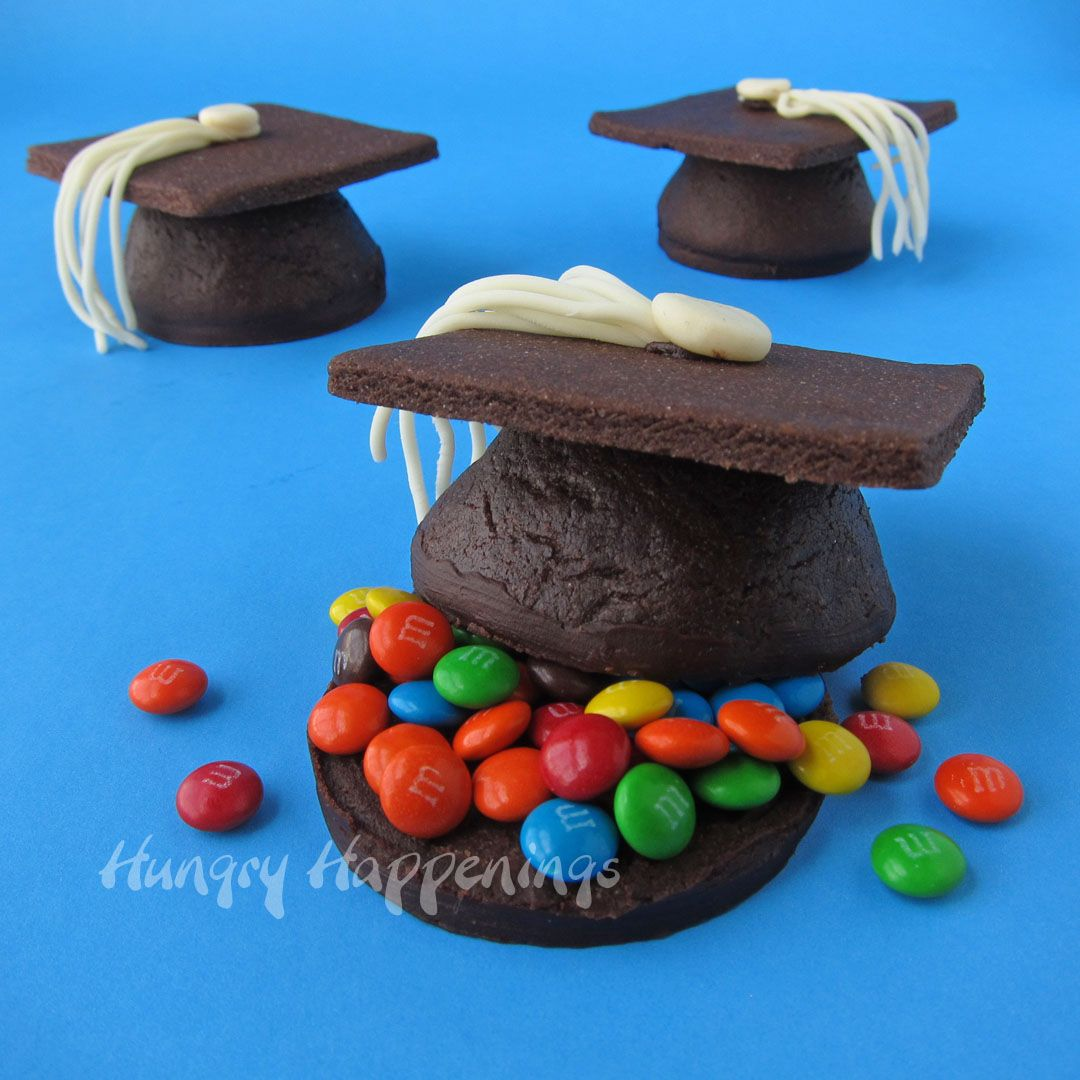 Candy Filled Chocolate Graduation Cap Cookies Hungry Happenings Graduation Party Desserts Graduation Desserts Pinata Cookies
