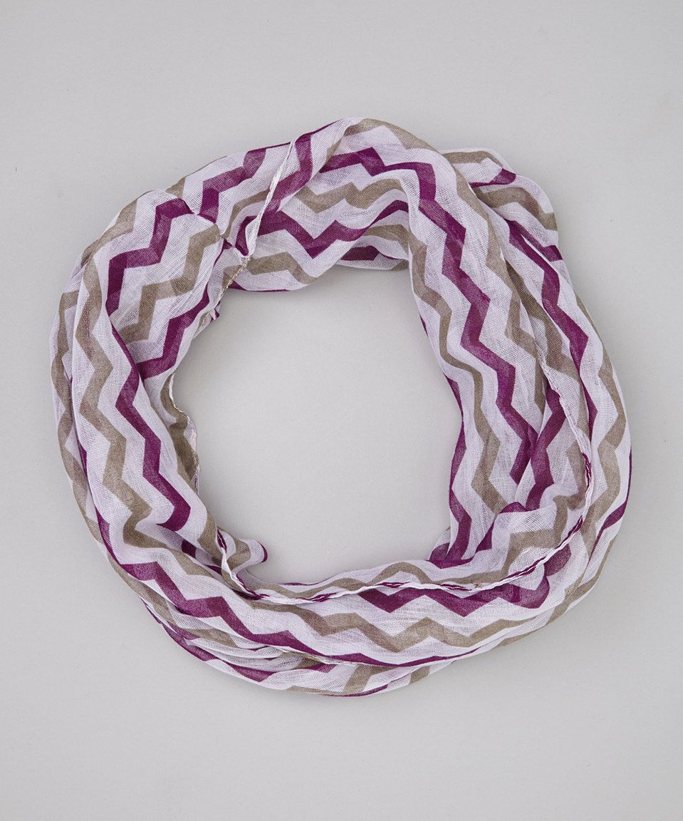 This DM Merchandising Purple & Tan Check It Out Chevron Infinity Scarf by DM Merchandising is perfect! #zulilyfinds