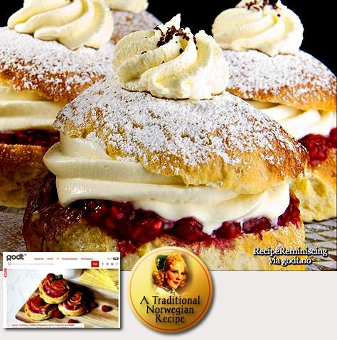 Big Shrovetide Buns - these are Norwegian, but the same tradition is found in Denmark (recipe in English)