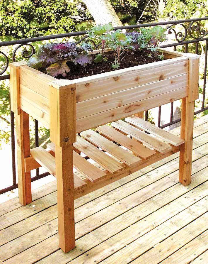 Cedar Standing Planter Box W Storage Shelf For The Herb Garden I Wonder