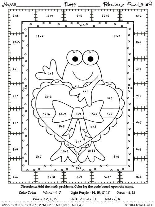 Fabulous February Fun Winter Math Printables Color By The Code Puzzles Szamtan Gyogypedagogia Matek