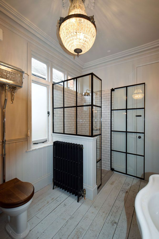 Industrial style shower door made by Creative Glass Studio