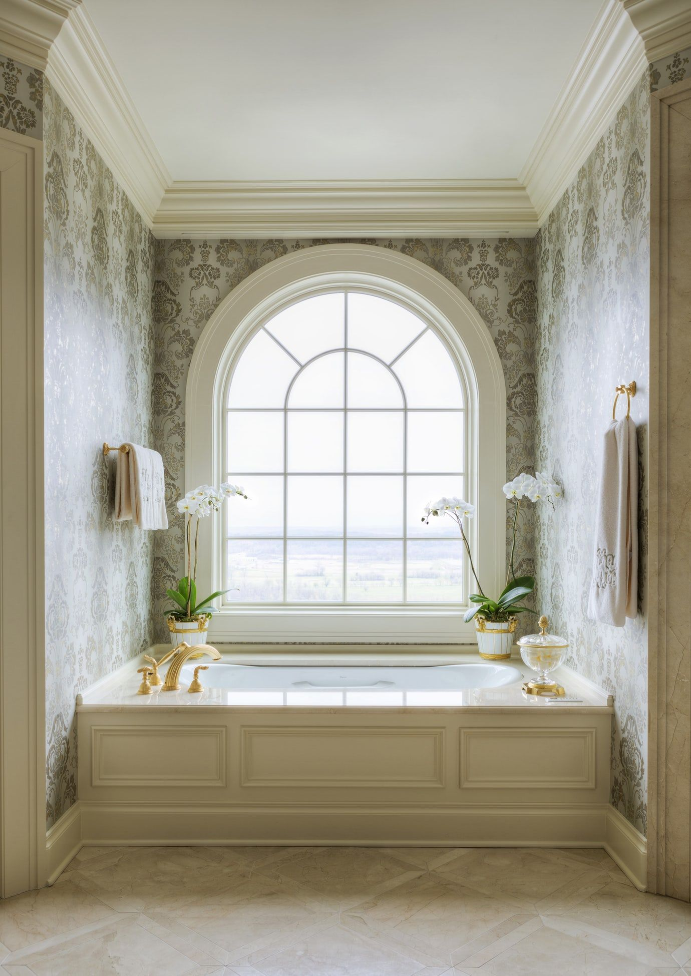 Residential Interior Project Has Modern Yet Vintage Take: Large Undermount Soaking Tub Beneath Arched Window Damask