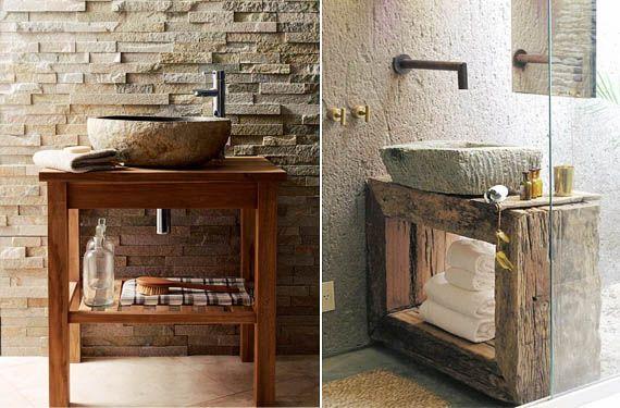 Lavabos de piedra para decorar baños rústicos Bathroom designs