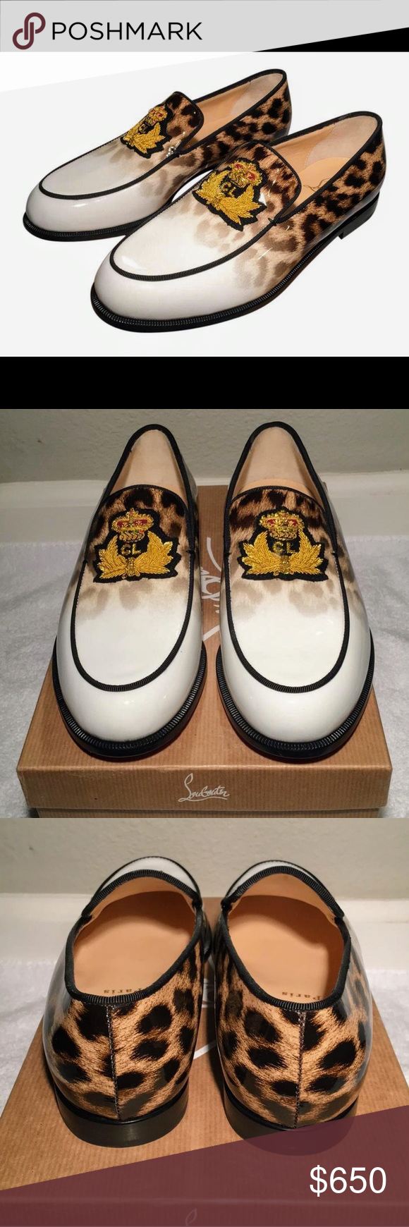 adac1b41c952 🌺C. LOUBOUTIN🌺LEOPARD CREST LAPEROUZA LOAFERS🌺 🌺🌺LIKE NEW CONDITION  🌺🌺MINIMAL WEAR🌺🌺HOT🔥HOT🔥HOT🔥FULL PATENT LEATHER LOAFERS🌺🌺PRICE ...