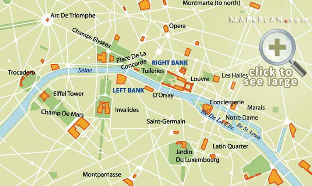 image result for map of major tourist attractions in paris paris