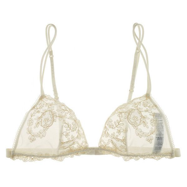 La Perla Donna Angelica Triangle Lace Bra (3,610 MXN) ❤ liked on Polyvore featuring intimates, bras, lingerie, underwear, sheer lingerie, lace bra, triangle bra, la perla lingerie and see-through bras