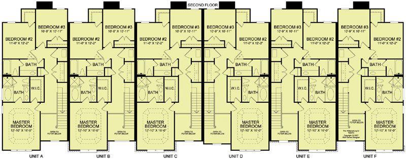 6 plex 4 2nd floor apartment house plan ideas for 4 plex townhouse plans
