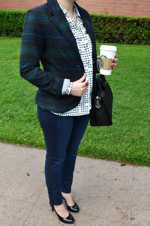 Love these tuxedo stripe skinnies from @Donna Maywald Navy paired with a plaid blazer! #ampedonstyle