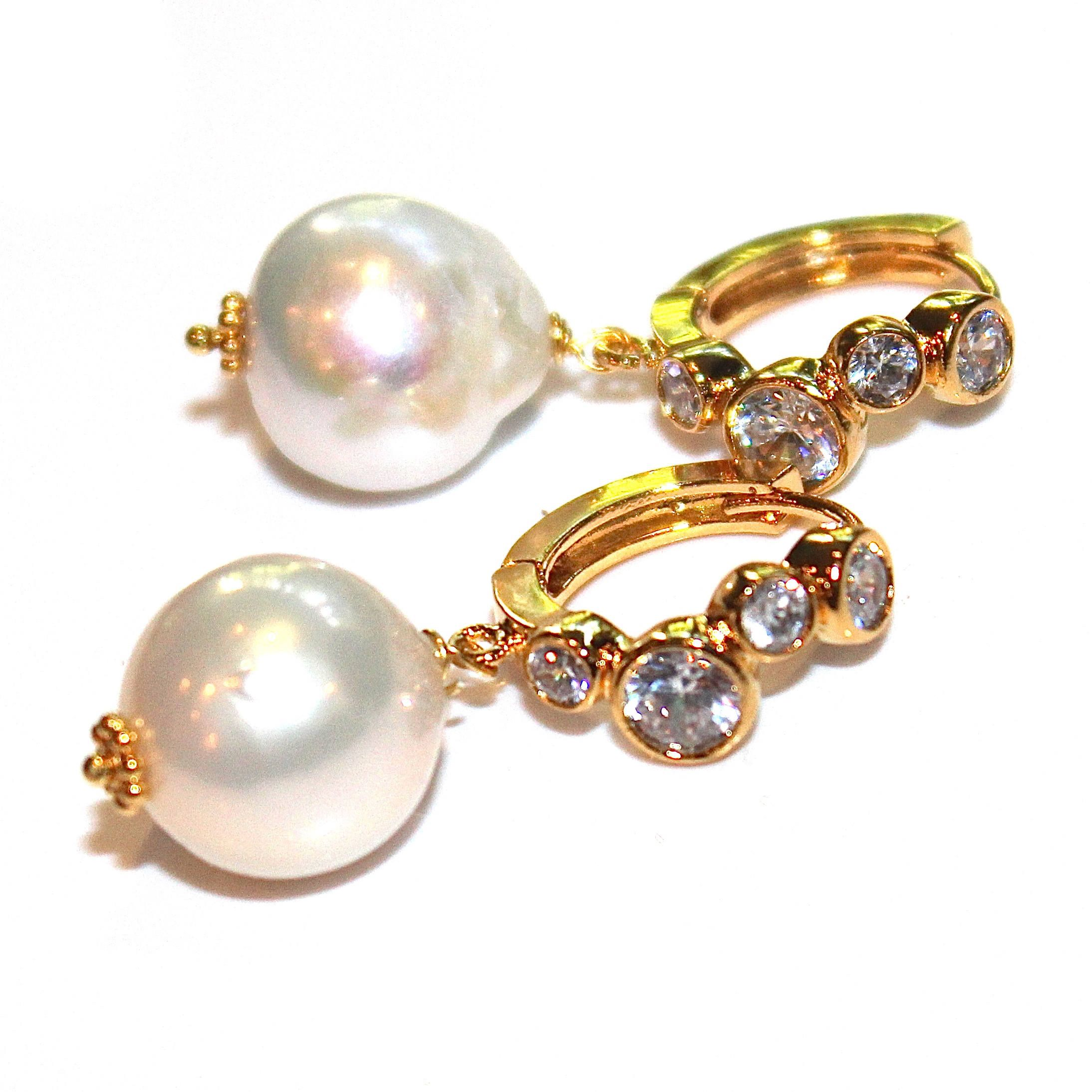 Cream Baroque Pearl Earring Simple Pearl Large Pearl Earring Pave ...